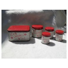 Antique Dolls Tin Kitchen Miniature 5 Piece Canister Set