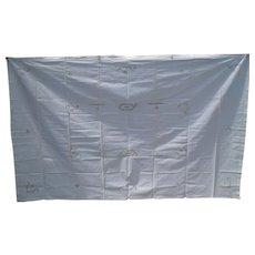 """Vintage White on White Drawn Work Tablecloth 85"""" x 52"""""""