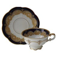 Hutschenreuther Germany Cobalt Blue and Gold Gilt Fleur de Lys Demitasse Cup and Saucer