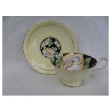 Stunning Paragon Quatrefoil DW Poppy on Black with Yellow Teacup and Saucer