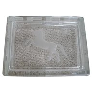Signed Verlys Carl Schmitz Rectangular Glass Lidded Box with Horse