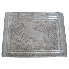 Signed Verlys Carl Schmitz Rectangular Glass Lidded Box with Horse