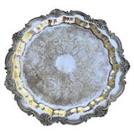 """Vintage Sheridan Silverplated Round Footed Tray 19 1/2"""""""