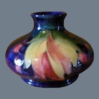 William Moorcroft Leaf and Berry on Cobalt Pottery Vase 1930's Her Majesty's Potter