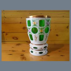 Bohemian Cut to Clear Green White Florals Beaker Vase