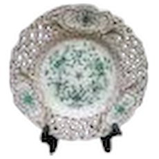 """Meissen Handpainted Green and Gold Floral Reticulated Pierced Plate 8 1/4"""""""