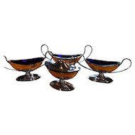 Regency Silverplate with Cobalt Liner Small Sauce Salt Dish 4 pieces