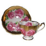 Beautiful Vintage Queen Anne Deep Pink Cabbage Rose Gold Teacup and Saucer