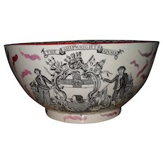 Antique Pink Luster Ship Caroline Shipwright's Arms Punch Bowl Eagle 1895