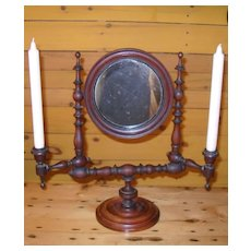 Antique Black Walnut Turned Wood Shaving Mirror with Candle Sconces