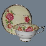 Pretty Paragon Pink Roses on Yellow Teacup and Saucer 2979