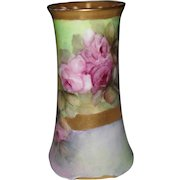 Beautiful RS Germany Pink Lavender Cabbage Rose Hatpin Holder 1900