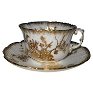 Vintage Hammersley Chrysanthemum Gold Teacup and Saucer 5030