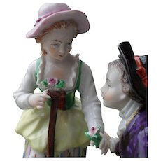 Sitzendorf Germany Porcelain Figurine of a Romantic Courting Couple Flowers