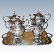 Aesthetic Movement Era Silverplate Simpson Hall Miller Tea Set