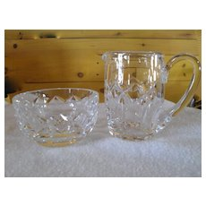 Waterford Crystal Ireland Kelly Pattern Creamer and Open Sugar Bowl