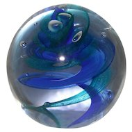 Caithness Scotland Twill Blue and Green Glass Paperweight Signed