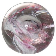 Caithness Scotland Pink Mooncrystal Glass Paperweight Signed