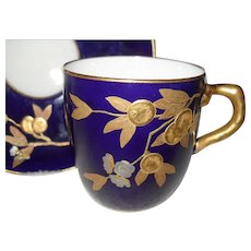Early Brownfields Gold Silver and Cobalt Fruit Teacup and Saucer