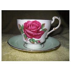 Paragon Red Cabbage Rose Teacup and Saucer Signed Reg Johnson