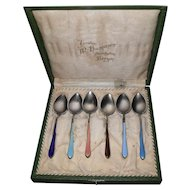 Rare Norway Enamel Silver 830S Demitasse Spoons - Marius Hammer