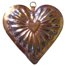 Antique Copper Tin Lined Heart Shaped Jelly Mold Mould