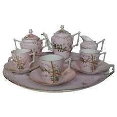 Chic Granger Limoges Pink Gold Birds Bamboo Coffee Chocolate Set