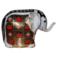 Royal Crown Derby Imari Yorkshire Rose Elephant Paperweight Gold Stopper