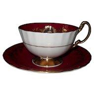 Aynsley Princess Margaret Burgundy Red Teacup and Saucer D1139