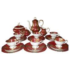 Exceptional Alka Kunst Bavaria 25 Pc Burgun Gold Red Coffee Set