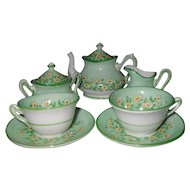 Sweet Crown Staffordshire Yellow Floral Green Miniature Doll Teaset