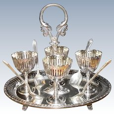 Victorian Fenton Bros 4 Person Silverplated Egg Cruet