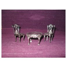Sterling Silver Miniature Table and Chairs Dollhouse Furniture Birmingham