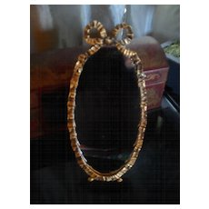 Vintage Brass Easel Dressing Table Mirror with Tied Ribbon Bow Decoration