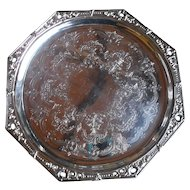 Beautiful Hallmarked Silverplated Octagonal Footed Tray