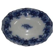 """Wood and Sons Flow Blue ROYAL Oval Vegetable Bowl 1898 9"""""""