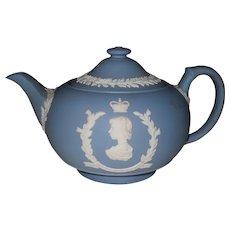 Wedgwood Blue Jasperware Queen Elizabeth Coronation 1953 Teapot