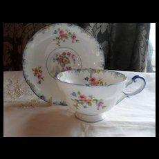 Vintage Paragon Star Purple Urn Florals Blue Trim Teacup and Saucer
