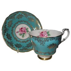 Paragon DW Pink Rose Turquoise By Appointment Teacup and Saucer