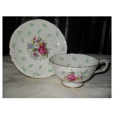 Vintage Paragon DW Polka Dot and Feather Teacup and Saucer