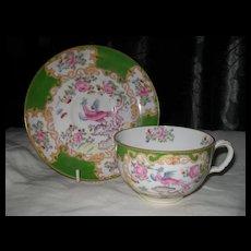 Minton Green Cockatrice Teacup and Saucer Globe Backstamp 4863