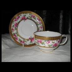 Mintons Gold Encrusted Pink Roses Globe Teacup and Saucer