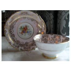 Paragon DW Pink Heavy Gold Floral Teacup and Saucer