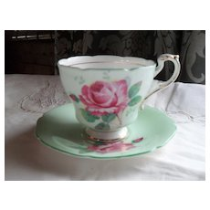 Paragon DW Pink Cabbage Rose on Mint Green Teacup and Saucer