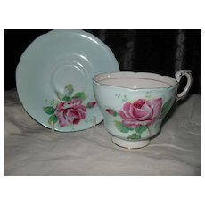 Paragon DW Pink Cabbage Rose on Robins Egg Blue Teacup and Saucer