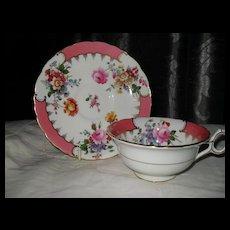 Vintage Wide Brim Cauldon England Pink Floral Teacup and Saucer