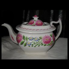 Outstanding Antique Hilditch Staffordshire Pink Lustre Teapot