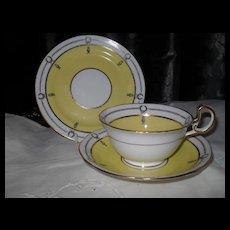 Aynsley Yellow with Black Laurel Teacup Saucer Plate Trio 3138