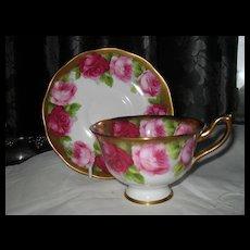 Royal Albert Old English Rose Bleeding Gold Teacup and Saucer