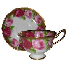 Royal Albert Old English Rose Bleeding Gold Teacup and Saucer